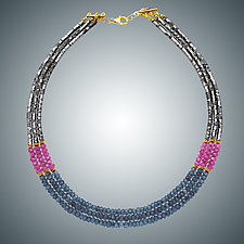 Blue Quartz, Pink Quartz and Hematite Necklace by Judy Bliss (Gold & Stone Necklace)