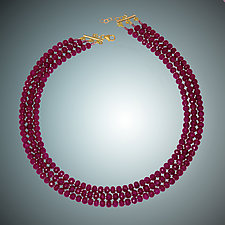 Faceted Ruby Necklace by Judy Bliss (Gold & Stone Necklace)