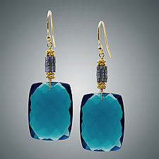 London Blue Quartz and Hematite Earrings by Judy Bliss (Gold & Stone Earrings)
