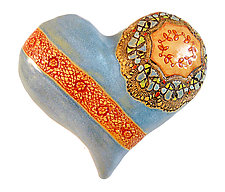 Nancy's Blue Heart by Laurie Pollpeter Eskenazi (Ceramic Wall Art)
