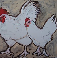 Two White Fowl by Elisa Root (Oil Painting)
