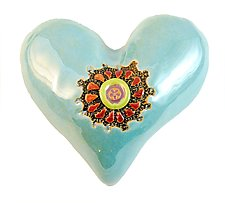 Little Blue with Button by Laurie Pollpeter Eskenazi (Ceramic Wall Sculpture)