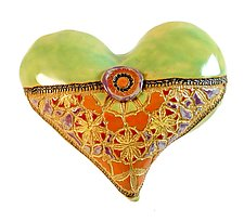 Blanket Stitch and Button by Laurie Pollpeter Eskenazi (Ceramic Wall Sculpture)