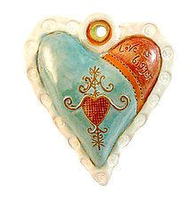 Hearts for Haiti White Rim by Laurie Pollpeter Eskenazi (Ceramic Wall Art)