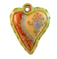 Hearts for Haiti Green Rim by Laurie Pollpeter Eskenazi (Ceramic Wall Sculpture)