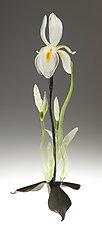 White Iris by Loy Allen (Art Glass Sculpture)