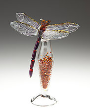 Amber Dragonfly Bottle by Loy Allen (Art Glass Perfume Bottle)