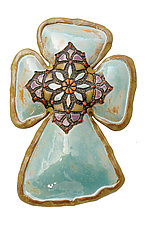 Nancy's Mosaic Cross by Laurie Pollpeter Eskenazi (Ceramic Wall Sculpture)