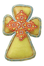 Red Patch Cross by Laurie Pollpeter Eskenazi (Ceramic Wall Sculpture)