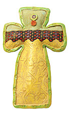 Bailey's Buttons Cross by Laurie Pollpeter Eskenazi (Ceramic Wall Sculpture)