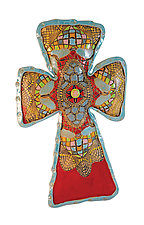 Butterfly Cross by Laurie Pollpeter Eskenazi (Ceramic Wall Sculpture)