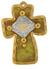 Sunflower & Buttons Cross in Green by Laurie Pollpeter Eskenazi (Ceramic Wall Sculpture)