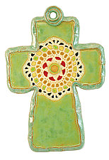 White Medallion Cross by Laurie Pollpeter Eskenazi (Ceramic Wall Sculpture)