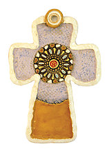 Black Medallion Cross by Laurie Pollpeter Eskenazi (Ceramic Wall Art)