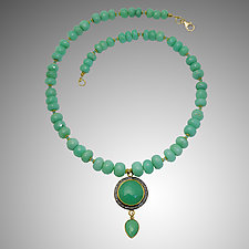 Chrysoprase Necklace by Judy Bliss (Gold & Stone Necklace)