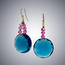 London Blue Quartz and Pink Quartz Earrings by Judy Bliss (Gold & Stone Earrings)