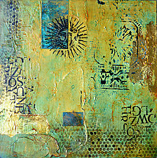 Aztec Sun I by Filomena Booth (Mixed-Media Wall Art)