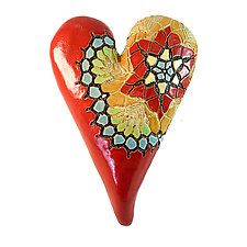 Star Flower Heart by Laurie Pollpeter Eskenazi (Ceramic Wall Sculpture)