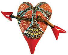Victoria's Red Fan by Laurie Pollpeter Eskenazi (Ceramic Wall Art)