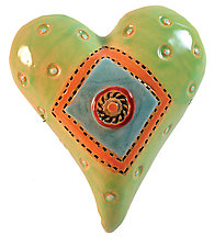 Bigger Itty Bitty Dots & Button by Laurie Pollpeter Eskenazi (Ceramic Wall Sculpture)