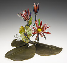 Waterlily and Dragonfly on Leaves by Loy Allen (Art Glass Sculpture)