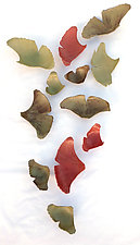 Dozen Ginkgos by Amy Meya (Ceramic Wall Sculpture)