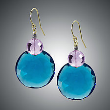 London Blue Quartz and Pink Amethyst Earrings by Judy Bliss (Gold & Stone Earrings)