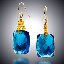 London Blue Quartz and Gold Quartz Earrings by Judy Bliss (Gold & Stone Earrings)