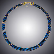 Blue Hematite Necklace by Judy Bliss (Gold & Stone Necklace)