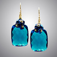 London Blue Quartz and Blue Hematite Earrings by Judy Bliss (Gold & Stone Earrings)
