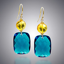 London Blue Quartz and Yellow Quartz Earrings by Judy Bliss (Gold & Stone Earrings)