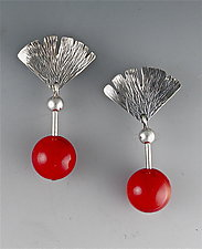 Hammered Silver and Coral Earrings by Suzanne Linquist (Silver & Stone Earrings)