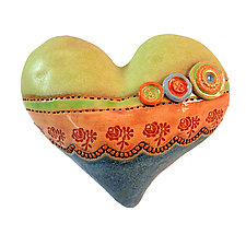 Eyelet & Buttons by Laurie Pollpeter Eskenazi (Ceramic Wall Sculpture)