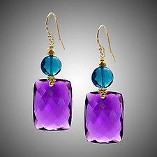 Amethyst and London Blue Earrings by Judy Bliss (Gold & Stone Earrings)