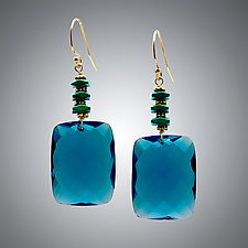 London Blue Quartz and Green Hematite Earrings by Judy Bliss (Gold & Stone Earrings)