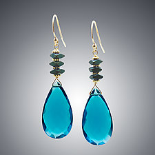 London Blue Quartz Teardrops and Hematite Earrings by Judy Bliss (Gold & Stone Earrings)