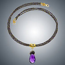 Amethyst Teardrop and Spinel Necklace by Judy Bliss (Gold & Stone Necklace)
