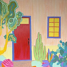 Orange House with Red Door by Jeff  Ferst (Oil Painting)