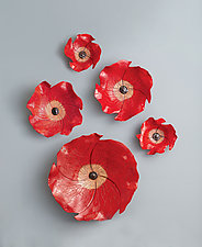 Poppies II by Amy Meya (Ceramic Wall Sculpture)
