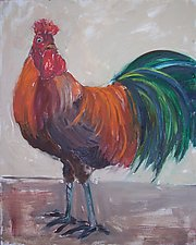 Orange Rooster by Elisa Root (Oil Painting)
