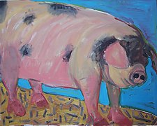 Pig with Black Face by Elisa Root (Oil Painting)