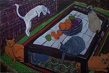 Six Cats by Elisa Root (Oil Painting)