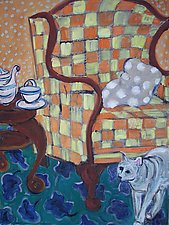 Cat and Checked Chair by Elisa Root (Oil Painting)
