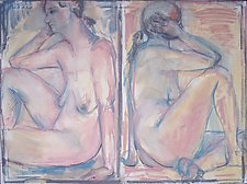 Two Nudes by Elisa Root (Oil Painting)