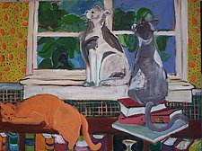 Three Cats and Window by Elisa Root (Oil Painting)
