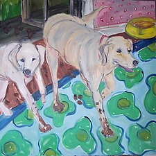 Two Happy Dogs with Muddy Feet by Elisa Root (Oil Painting)