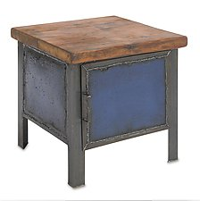 Blue Cabinet End Table by Ben Gatski and Kate Gatski (Metal End Table)