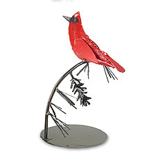 Red Cardinal Sculpture by Ben Gatski and Kate Gatski (Metal Sculpture)