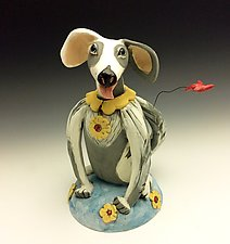 Daisy on a Gray Dog by Amy Goldstein-Rice (Ceramic Sculpture)