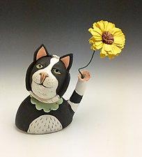 Tuxedo Cat Bud Vase by Amy Goldstein-Rice (Ceramic Vase)